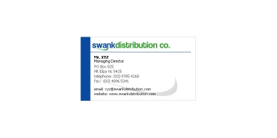 Swank Distribution Business Card Sample 01